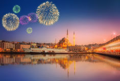 Panorama of Istanbul at a dramatic sunset with fireworks royalty free stock photo