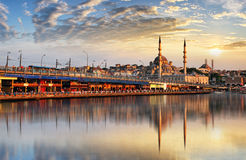 Panorama of Istanbul at a dramatic sunset from Galata, Istanbul, Turkey stock images