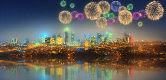 Panorama of Istanbul at night with fireworks Royalty Free Stock Photos