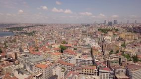 Panorama of Istanbul. Biggest city in Turkey. Aerial view stock footage