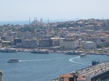 Panorama of Istanbul seen by the tall one with the famous bridge of Galata. Turkey Royalty Free Stock Photos