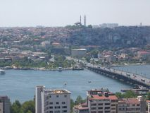 Panorama of Istanbul seen by the tall one with the famous bridge of Galata. Turkey Stock Images
