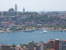 Panorama of Istanbul seen by the tall one. Turkey Royalty Free Stock Photo