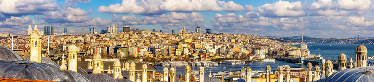 Panorama of Istanbul from the Sueymaniye Mosque Royalty Free Stock Photos