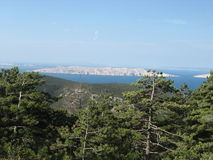 Panorama on the istria island. Amazing landscape istria island - forest with island and sea in croatia stock image