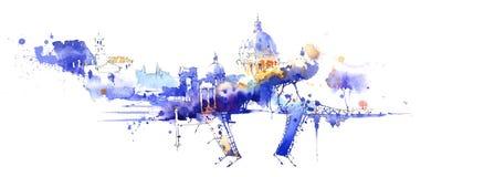 Panorama Italia-Rusia ilustración del vector