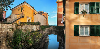 Panorama of Italian building and bridge over the canal Royalty Free Stock Photo