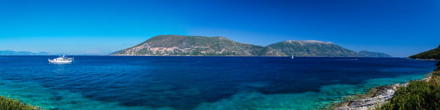 Panorama of the Ithaca from Fiscardo royalty free stock images