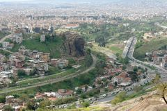Panorama of Izmir and a view of the bas-relief of Ataturk, carve stock photos