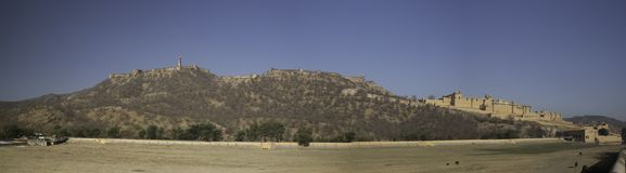 Panorama of Jaigarh Fort and Amber Fort stock photography