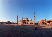 Panorama with Jama Masjid mosque. Delhi, India. stock images