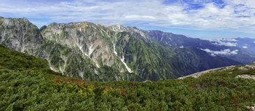 Panorama of Japan Alps. Northern Alps in Japan, a popular mountains for Japanese hikers and climbers Royalty Free Stock Photo
