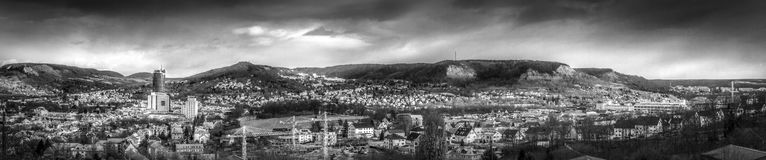 Panorama of Jena, Thuringia in black and white. Shows a black and white panorama of the city of jena in the horizontal format Royalty Free Stock Image