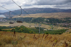 Panorama of Jermuk spa resort city and Arpa river canyon form ro Royalty Free Stock Photos