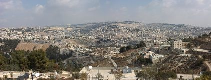 Panorama of Jerusalem. With Mount Olives Royalty Free Stock Photos