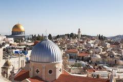 Panorama- Jerusalem att taklägga sikt av sakrala ställen Arkivbild