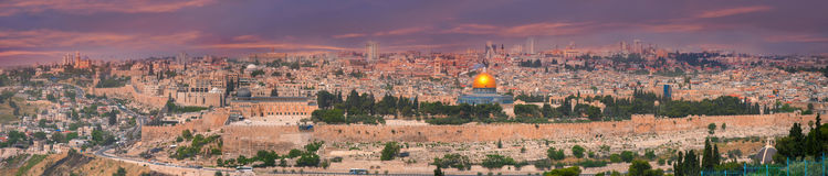 Panorama of Jerusalem, Israel. View from the Mount of Olives royalty free stock photo