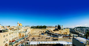 Panorama of Jerusalem, Israel with the Western Wall Royalty Free Stock Photography