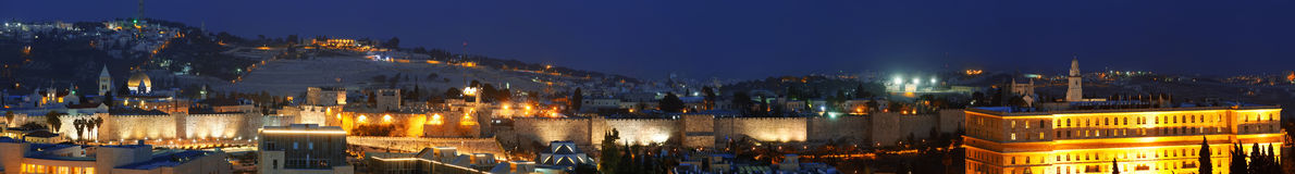Panorama - Old City Wall at Night, Jerusalem Stock Images