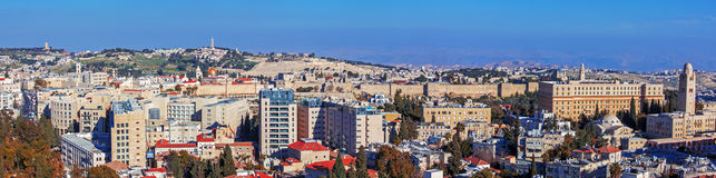 Panorama - Aerial View of Jerusalem Stock Photography
