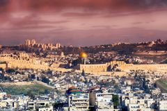 Panorama of Jerusalem Old City and Temple Mount, Israel. Stock Photo