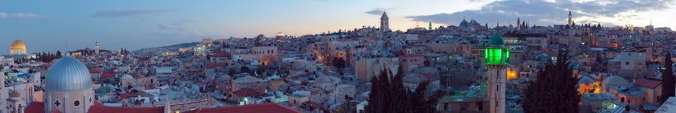 Panorama - Old City at Night, Jerusalem stock photos