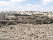 Panorama of Jerusalem overlooking an ancient Jewish cemetery on Royalty Free Stock Photos