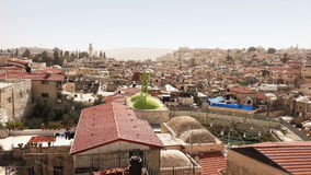 Panorama of Jerusalem taken from the roof in the city center stock video