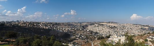Panorama of Jerusalem with Temple Mount Stock Images