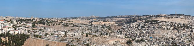 Panorama of Jerusalem with Temple Mount Stock Image