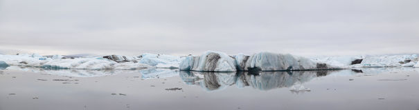 Panorama of Jokulsarlon ice lagoon in Iceland Stock Photography