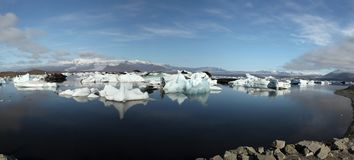 Panorama of Jokulsarlon lake iceberg lagoon Southe Stock Photos
