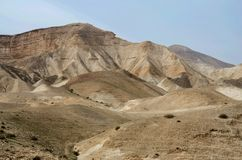 Panorama of Judean desert, it lies east of Jerusalem and descends to Dead Sea,Israel Stock Image