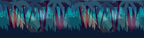 Panorama with Jungle Rainforest landscape. Vector illustration for your design Stock Photo