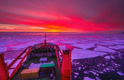Unrepeatable panorama and just air .On ice floes, terrain and scenery Antarctic .Sunrise. Panorama and just air .On ice floes, terrain and scenery Antarctic stock photography