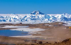 Unrepeatable panorama and just air .On ice floes, terrain and scenery Antarctic .Sunrise. Panorama and just air .On ice floes, terrain and scenery Antarctic stock photo