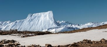 Panorama and just air. View of the ocean, icebergs and polar station, terrain and scenery Antarctic stock photo