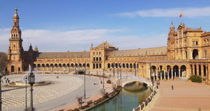 Panorama 4k Spanien Sevilla Sun light plaza de Espana stock video