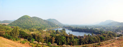 Panorama of Kaeng Krachan Dam in Kaeng Krachan National Park Stock Photo