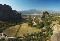 Panorama of Kalampaka from rock monastery,Meteora Stock Photo