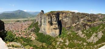 The panorama of Kalampaka town and Meteora Stock Image