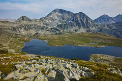 Panorama of Kamenitsa Peak And Tevno lake, Pirin Mountain, Bulgaria Royalty Free Stock Photo