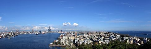 Panorama of Kaohsiung City and Port. Beautiful panorama of Kaohsiung city and port and adjacent Chijin Island Royalty Free Stock Photos