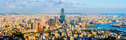 Panorama of Kaohsiung, Taiwan. Cityscape of kaohsiung by the sunset Royalty Free Stock Photo