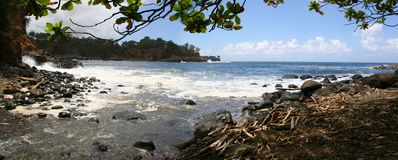 Panorama Kapaau Hawai della spiaggia di Keokea Fotografie Stock Libere da Diritti