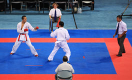 Panorama of a karate match Stock Images