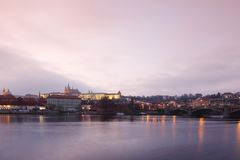 Panorama Karlov  bridge in Prague Stock Photography