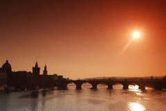 Panorama Karlov or Charles bridge in Prague Stock Photography