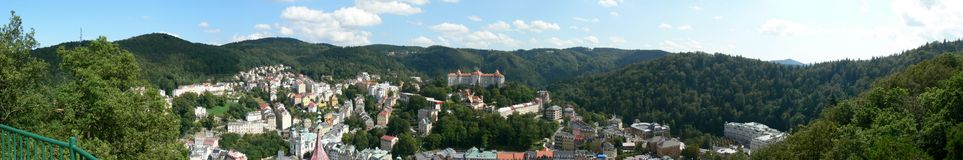 Panorama from Karlsbad. This is a Panorama from Karlsbad (Karlovy Vary) in Czech Republic Royalty Free Stock Images