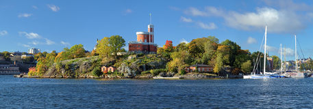 Panorama of Kastellholmen island with Small Castle in Stockholm Royalty Free Stock Image